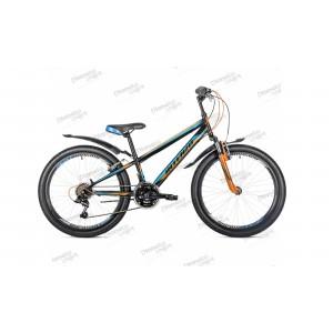 """Велосипед 24"""" Intenzo Energy v-brake черно/оранжевый/синий 2019"""