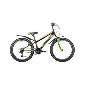 """Велосипед 24"""" Intenzo Energy v-brake черно/оранжевый/зелёный 2019"""